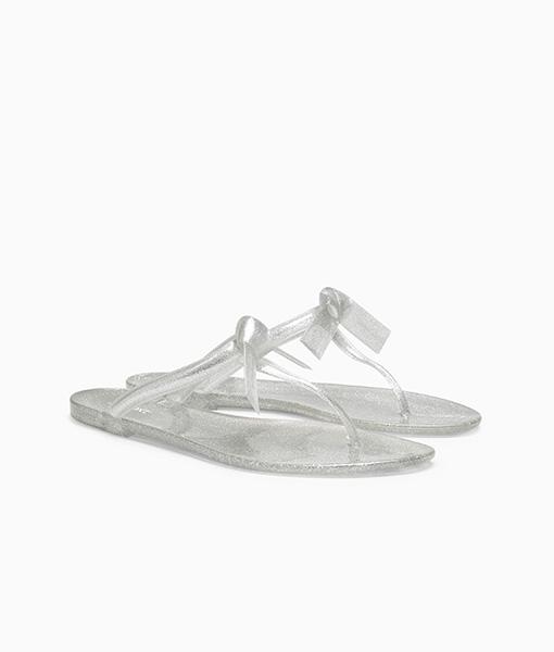 Silver Bow Mule Sandal