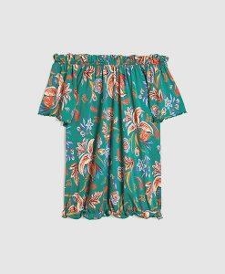Green Floral Bardot top