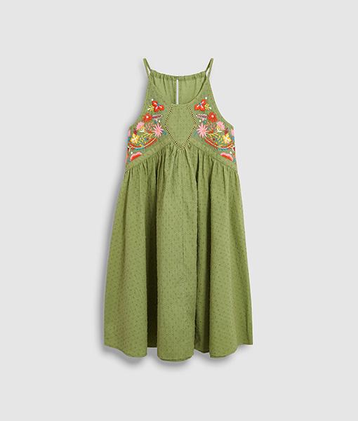 Khaki Embellished Dress