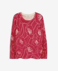 Red Floral Print Knit