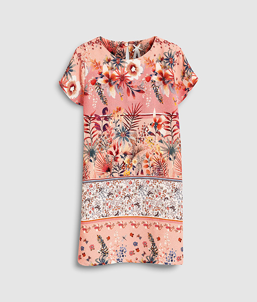 Pattern pink shift dress