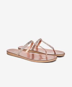 Rose Gold T-Bar Sandals