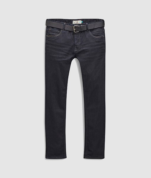 Coated stretch belt jean