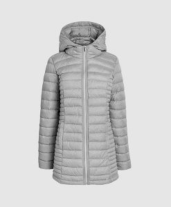 Grey padded hood coat
