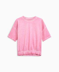 Elasticated hem pink t-shirt