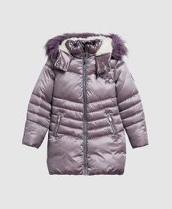 Purple long padded jacket