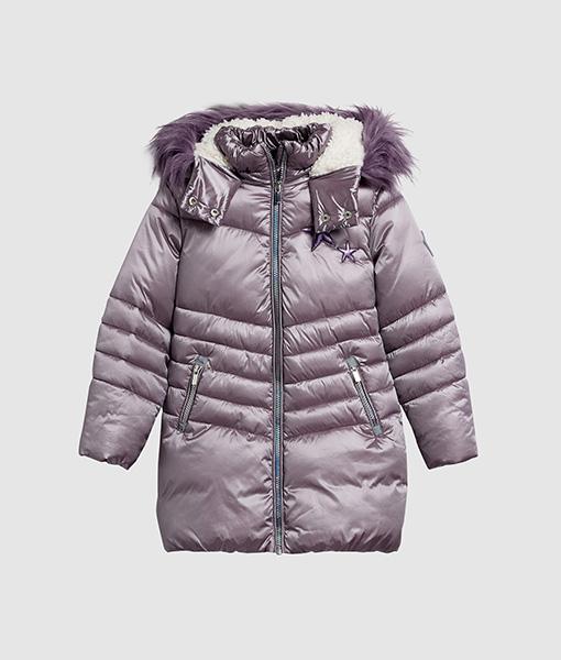 Purple long padded jacket