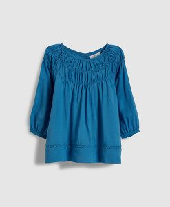 Blue pleat top