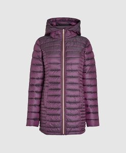 Long padded purple jacket