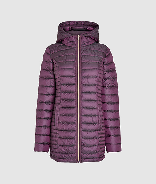 Long padded purple jacket