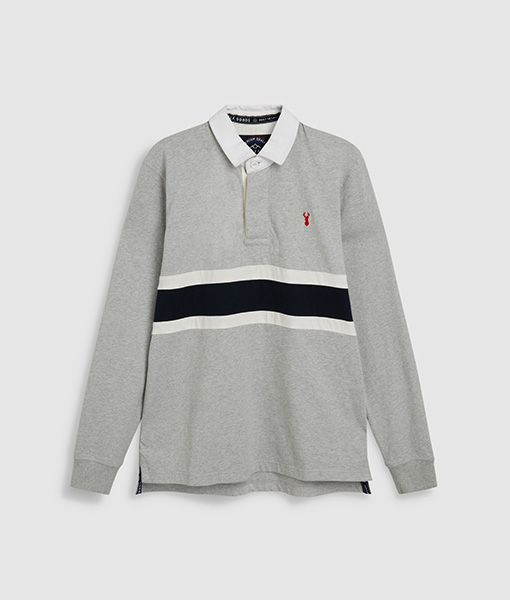 Colour Block Grey Rugby Shirt