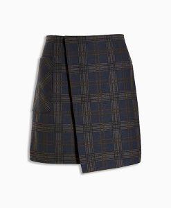 Navy check skirt