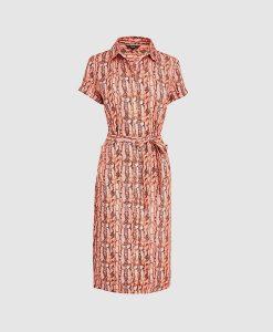 Pink snake print shirt dress