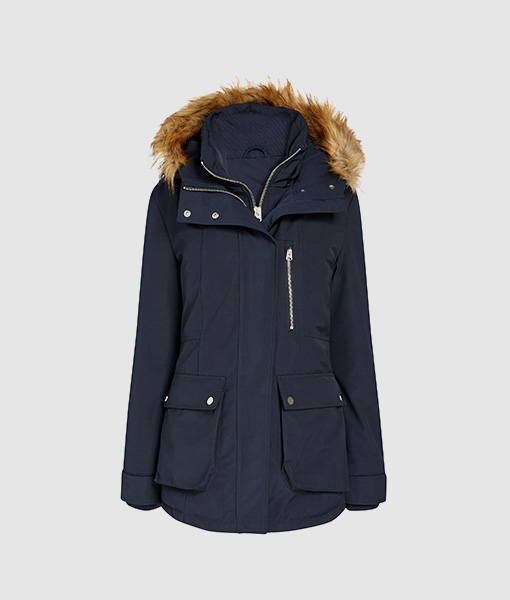 Faux Fur Navy Tech Coat
