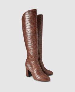 Brown Croc print long boot