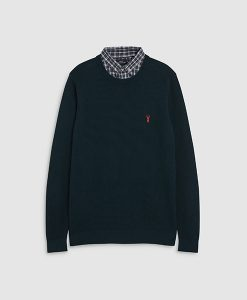Mock shirt crew neck jumper
