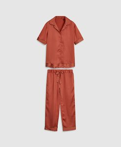 Button Silk Feel Pyjama Set