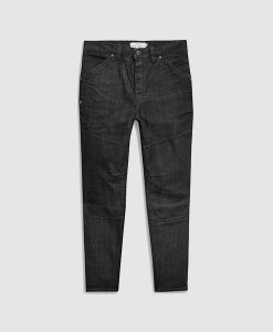 Dark coated denim jeans