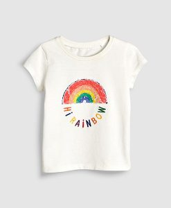 hi rainbow white tee
