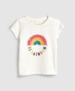 hi rainbow white tee