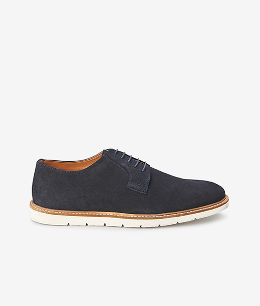 wedge navy derby shoe