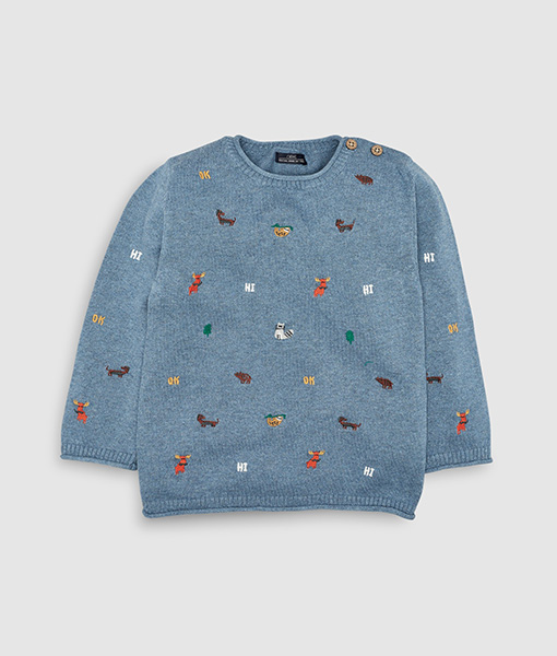 Blue Character embroidered jumper