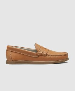 tan penny loafer