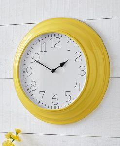 Yellow metal wall clock