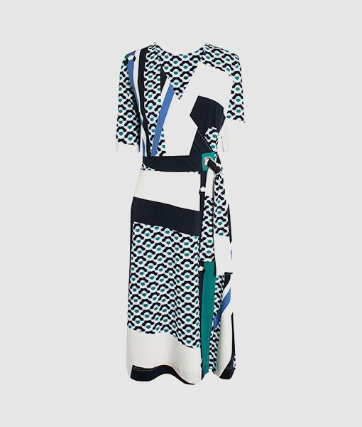 Wrap geo print dress
