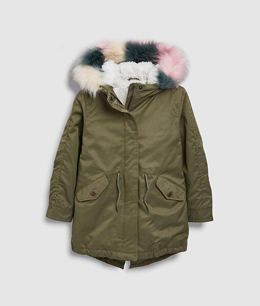 Khaki Parka Pink Fur