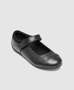 Black school shoe brogue