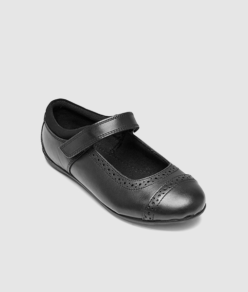 Black school shoe brogue