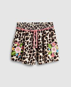 Animal Print Floral Shorts
