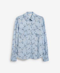 floral blue ruffle shirt