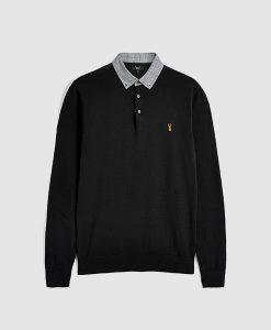 Black Woven Collar Polo