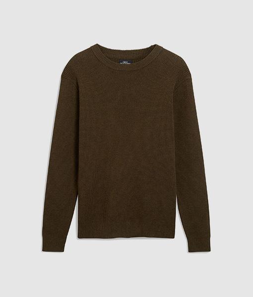 Green Waffle Knit Sweatshirt