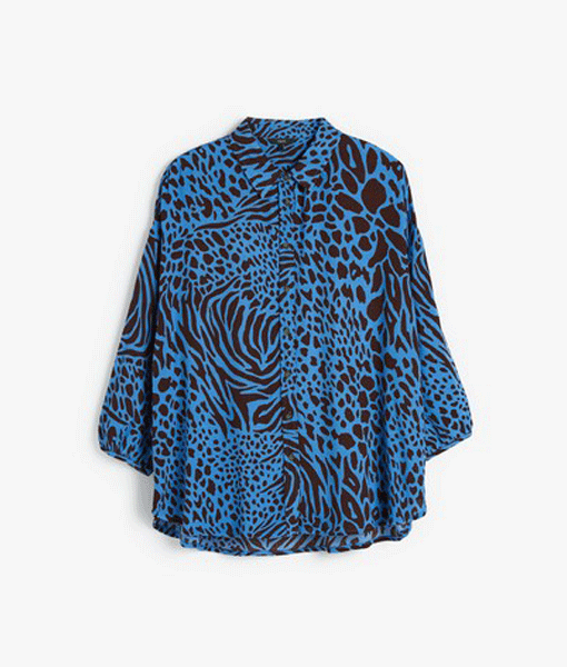 Blue Leopard Print Shirt