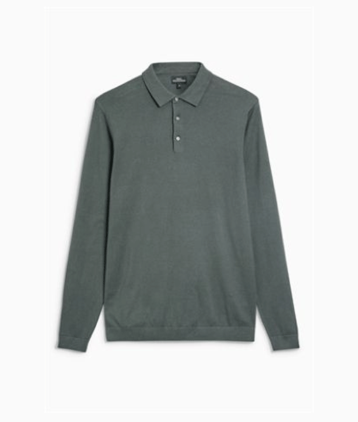 Green Long Sleeve Polo