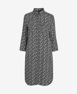 Black Floral Shirt Dress