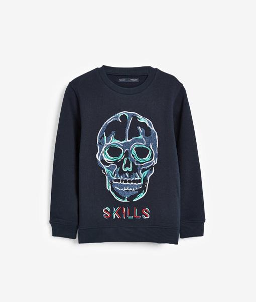 Navy Skull Hoody