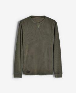 Khaki Waffle Crewneck Sweatshirt