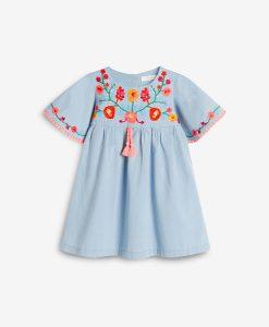 Blue Embroidered Kaftan Dress